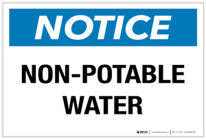 Notice: Non-Potable Water - Label