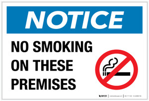 Notice: No Smoking on These Premises with Icon - Label