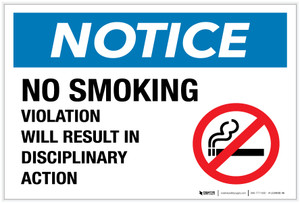 Notice: No Smoking - Disciplinary Action with Icon - Label