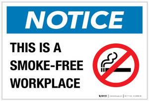 Notice: This is a Smoke-Free Workplace with Icon - Label