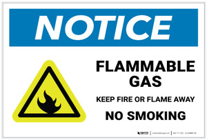 Notice: Flammable Gas Keep Fire Or Flame Away - No Smoking with Hazard Icon - Label