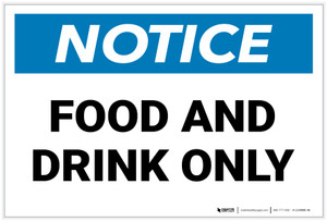 Notice: Food And Drink Only - Label