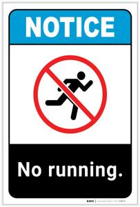 Notice: No Running Portrait ANSI - Label