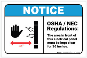 Notice: OSHA NEC Electrical Panel Regulations ANSI - Label
