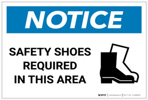 Notice: Safety Shoes Required In This Area with Icon - Label