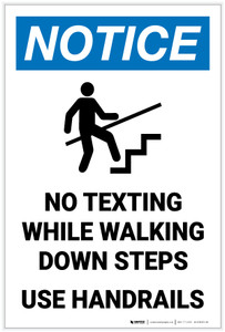 Notice: No Texting While Walking Down Steps - Use Handrails with Icon Portrait - Label