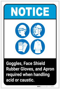 Notice: Goggles/Face Shield/Gloves/Apron Required when handling Acid/Caustic Portrait ANSI - Label