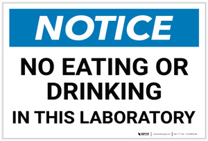 Notice: No Eating Drinking In Laboratory - Label