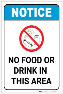 Notice: No Food or Drink in This Area Portrait ANSI - Label