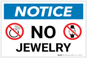 Notice: No Jewelry with Icons - Label