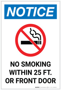 Notice: No Smoking Within 25 Ft of Front Door Portrait - Label