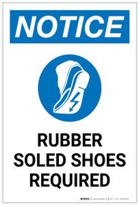 Notice: Rubber Soled Shoes Required Portrait with Icon - Label