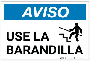 Notice: Use Handrail Spanish with Icon - Label