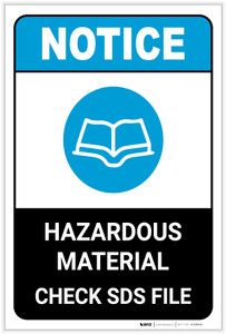 Notice: Hazardous Materials Check SDS Files Portrait ANSI - Label