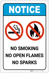 Notice: No Smoking/Open Flames/Sparks ANSI Portrait - Label