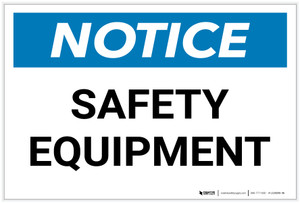Notice: Safety Equipment - Label