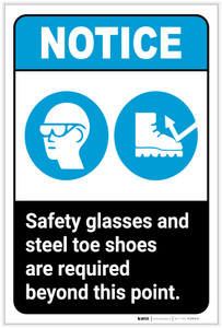 Notice: Safety Glasses/Steel Toe Shoes Required Portrait ANSI - Label