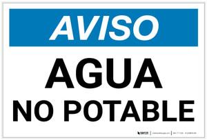 Notice: Non Potable Water - Spanish - Label