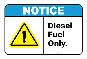 Notice: Diesel Fuel Only with Icon ANSI - Label
