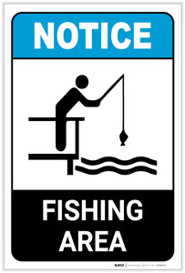 Notice: Fishing Area Water Safety Portrait ANSI - Label