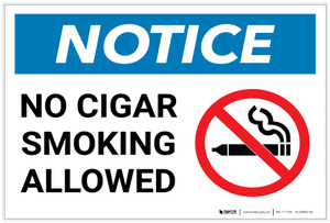 Notice: No Cigar Smoking Allowed with Icon - Label