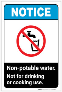 Notice: Non-Potable Water - Not for Drinking or Cooking Use Portrait ANSI - Label