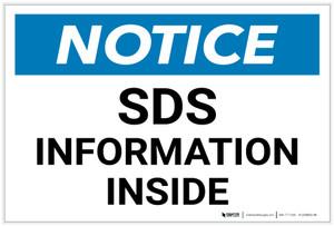 Notice: SDS Informaiton Inside - Label