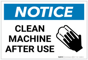Notice: Clean Machine After Use with Icon - Label