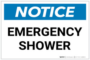 Notice: Emergency Shower - Label