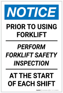 Notice: Perform Forklift Safety Inspection - Label