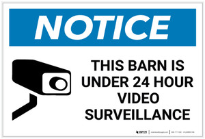 Notice: This Barn Is Under 24 Hour Video Surveillance with Icon - Label
