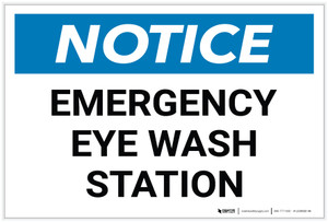 Notice: Emergency Eyewash Station - Label