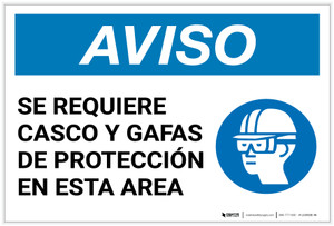 Notice: Spanish Helmet And Goggles Required In Area with Icon - Label