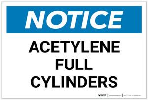 Notice: Acetylene Full Cylinders - Label