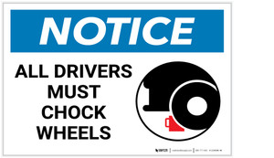 Notice: All Drivers Must Chock Wheels with Icon - Label