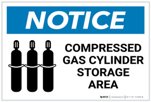 Notice: Compressed Gas Cylinder Storage Area with Icon - Label