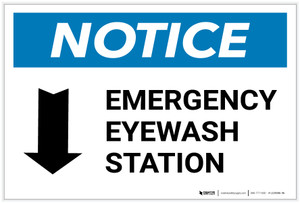Notice: Emergency Eyewash Station Arrow Down Landscape - Label