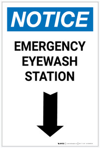 Notice: Emergency Eyewash Station Arrow Down Portrait - Label