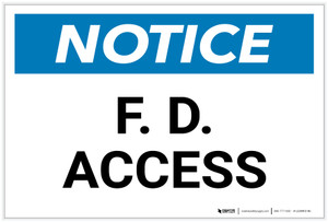 Notice: F. D. Access - Label
