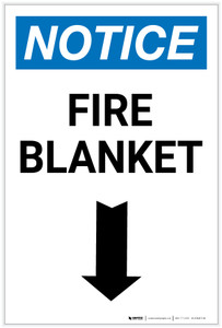 Notice: Fire Blanket with Down Arrow Portrait - Label