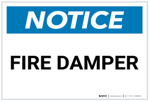 Notice: Fire Damper - Label