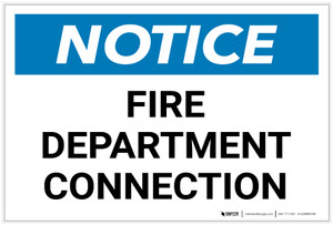 Notice: Fire Department Connection - Label