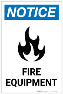 Notice: Fire Equipment Portrait with Icon - Label