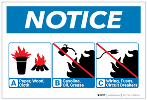 Notice: Flammable Materials Guidline with Icons - Label