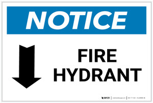 Notice: Fire Hydrant with Arrow Down - Label