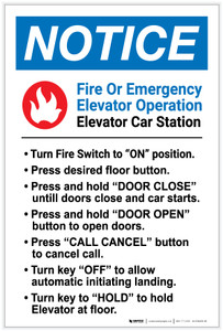 Notice: Fire Or Emergency Elevator Operation - Label