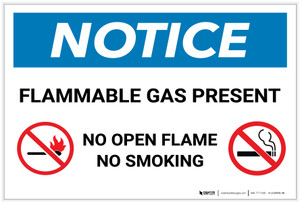 Notice: Flammable Gas Present No Open Flame/Smoking with Icons - Label