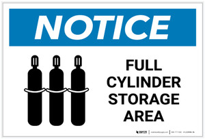 Notice: Full Cylinder Storage Area with Icon Landscape - Label