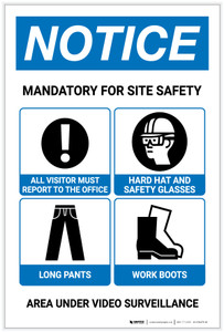 Notice: Mandatory For Site Safety - PPE/Area Under Video Surveillance Portrait with Icons - Label
