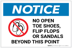 Notice: No Open Toe Shoes Flip Flops or Sandals Beyond This Point with Icon - Label